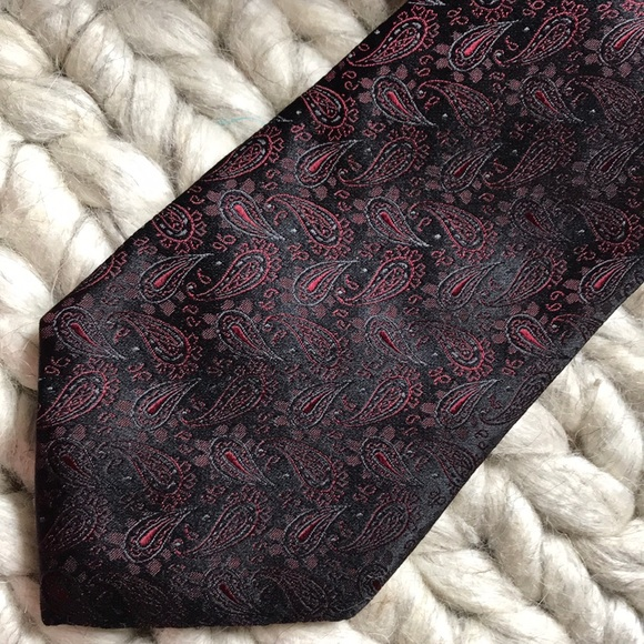 Express Other - Express Design Studio Red Paisley Black Sheen Tie